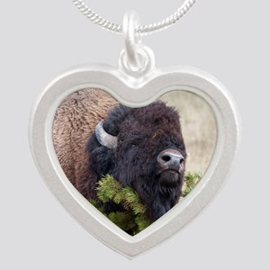 Christmas Bison Silver Heart Necklace