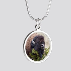 Christmas Bison Silver Round Necklace