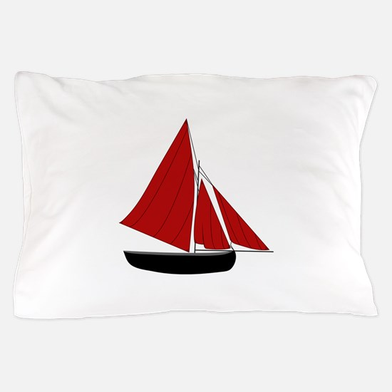 Red Sail Boat Pillow Case