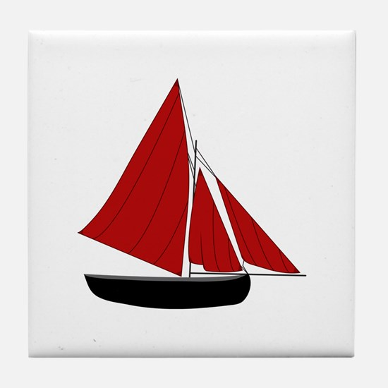 Red Sail Boat Tile Coaster