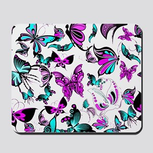 Teal and purple butterflies Mousepad