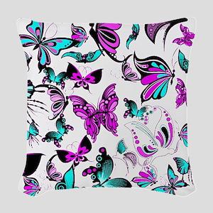 Teal and purple butterflies Woven Throw Pillow