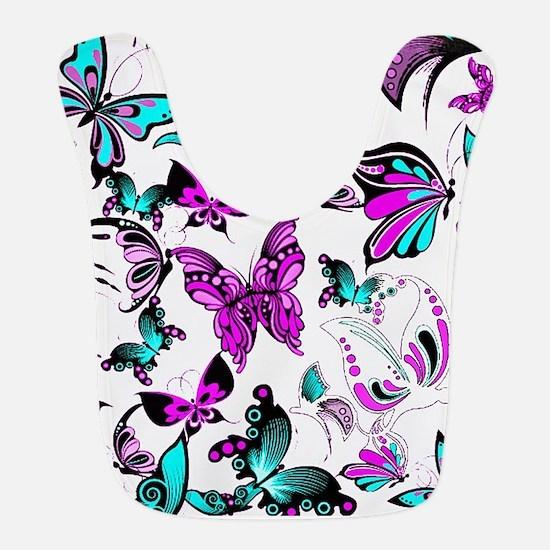 Teal and purple butterflies Bib