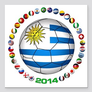 "Uruguay soccer futbol Square Car Magnet 3"" x 3"""
