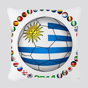 Uruguay soccer futbol Woven Throw Pillow