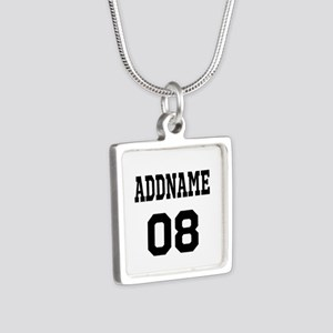 Custom Sports Theme Silver Square Necklace