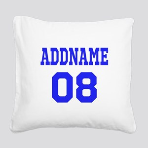 Blue Jersey Style Custom Square Canvas Pillow