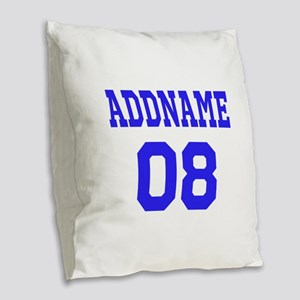 Blue Jersey Style Custom Burlap Throw Pillow