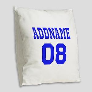 Blue Jersey Style Custom Burlap Throw Pillow