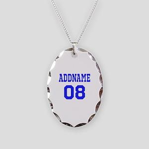 Blue Jersey Style Custom Necklace Oval Charm