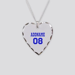 Blue Jersey Style Custom Necklace Heart Charm