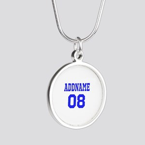 Blue Jersey Style Custom Silver Round Necklace