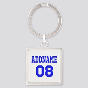 Blue Jersey Style Custom Square Keychain