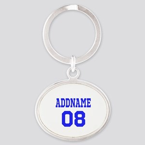Blue Jersey Style Custom Oval Keychain