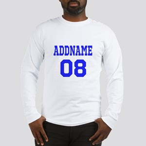 Blue Jersey Style Custom Long Sleeve T-Shirt