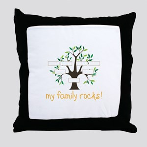 My Family Rocks Throw Pillow