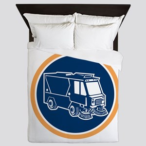 Street Cleaner Truck Circle Retro Queen Duvet