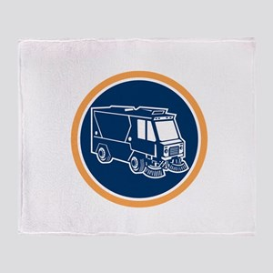 Street Cleaner Truck Circle Retro Throw Blanket