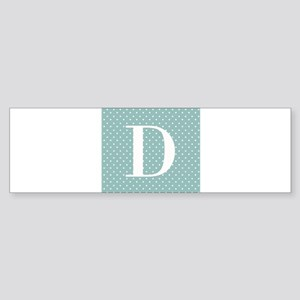 D Initial on Blue and White Bumper Sticker
