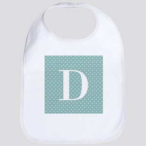 D Initial on Blue and White Bib