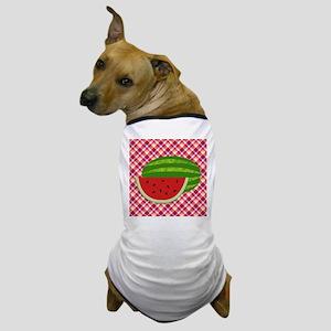 Watermelon on Plaid Dog T-Shirt
