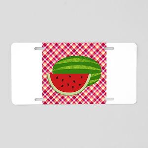 Watermelon on Plaid Aluminum License Plate