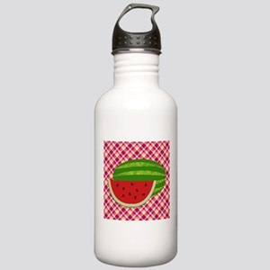 Watermelon on Plaid Water Bottle