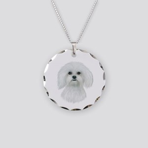 Maltese Portrait Necklace Circle Charm