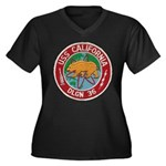 USS CALIFORN Women's Plus Size V-Neck Dark T-Shirt