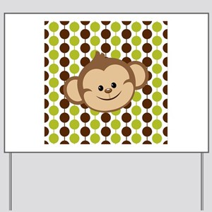 Monkey on Green and Brown Yard Sign