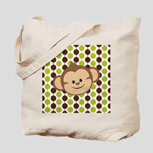 Monkey on Green and Brown Tote Bag