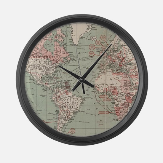 Vintage Map of The World (1918) Large Wall Clock