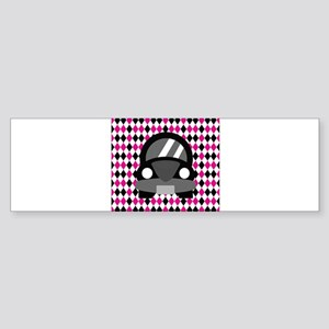 Black Car on Pink and White Bumper Sticker
