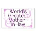 World's Greatest Mother-in-Law Sticker (Rectangle)