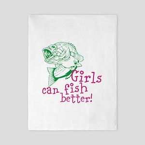 Girls can Fish Better Twin Duvet