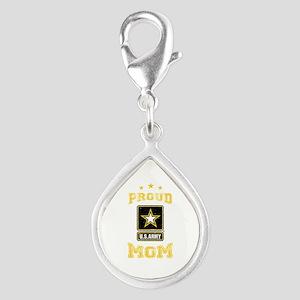US Army proud Mom Silver Teardrop Charm