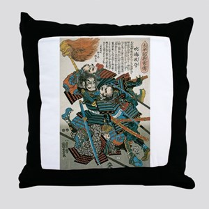 Samurai Fukushima Masanori Throw Pillow