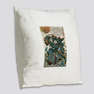 Samurai Fukushima Masanori Burlap Throw Pillow