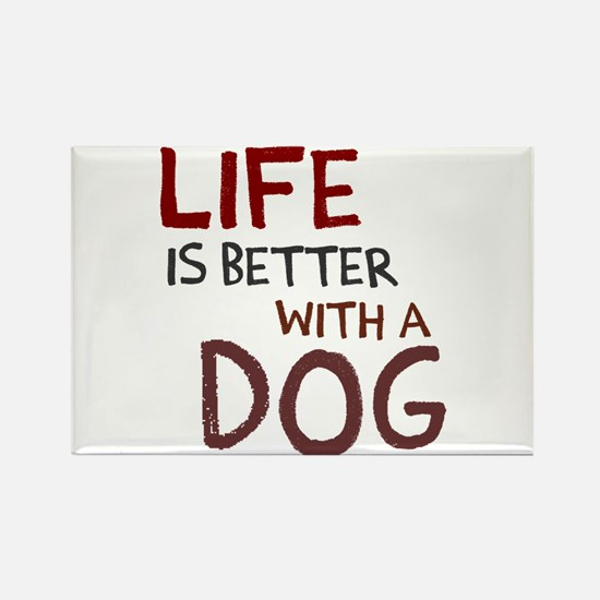 Life is better with a dog Rectangle Magnet