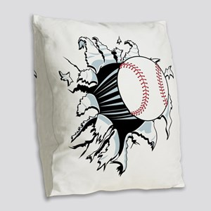 Breakthrough Baseball Burlap Throw Pillow