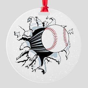 Breakthrough Baseball Round Ornament