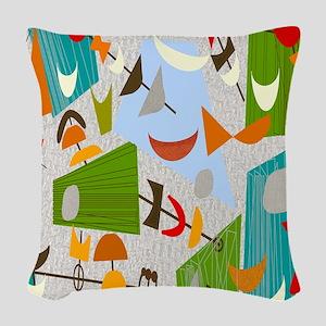 Atomic rug 4 Woven Throw Pillow