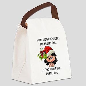 Under the mistletoe - black hair Canvas Lunch Bag