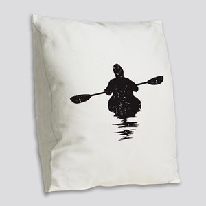 Kayaking Burlap Throw Pillow