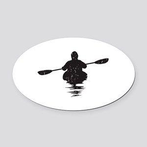 Kayaking Oval Car Magnet
