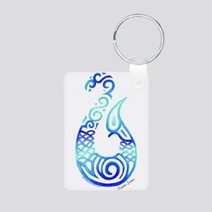 Tribal Fish Hook Aluminum Photo Keychain