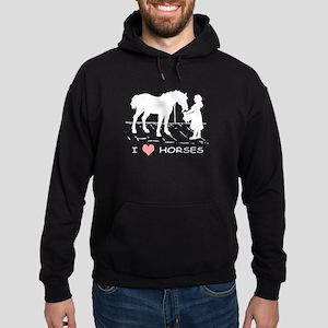 Horse & Girl I Heart Horses Hoodie (dark)