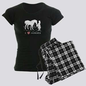 Horse & Girl I Heart Horses Women's Dark Pajamas
