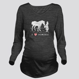 Horse & Girl I Heart Long Sleeve Maternity T-Shirt