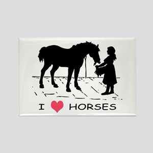 Horse & Girl I Heart Horses Rectangle Magnet
